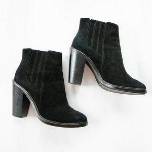Joie Cloee Black Suede Heeled Ankle Booties 36.5